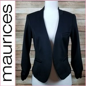 Maurices Black 3/4 Ruched Sleeve Open Front Blazer